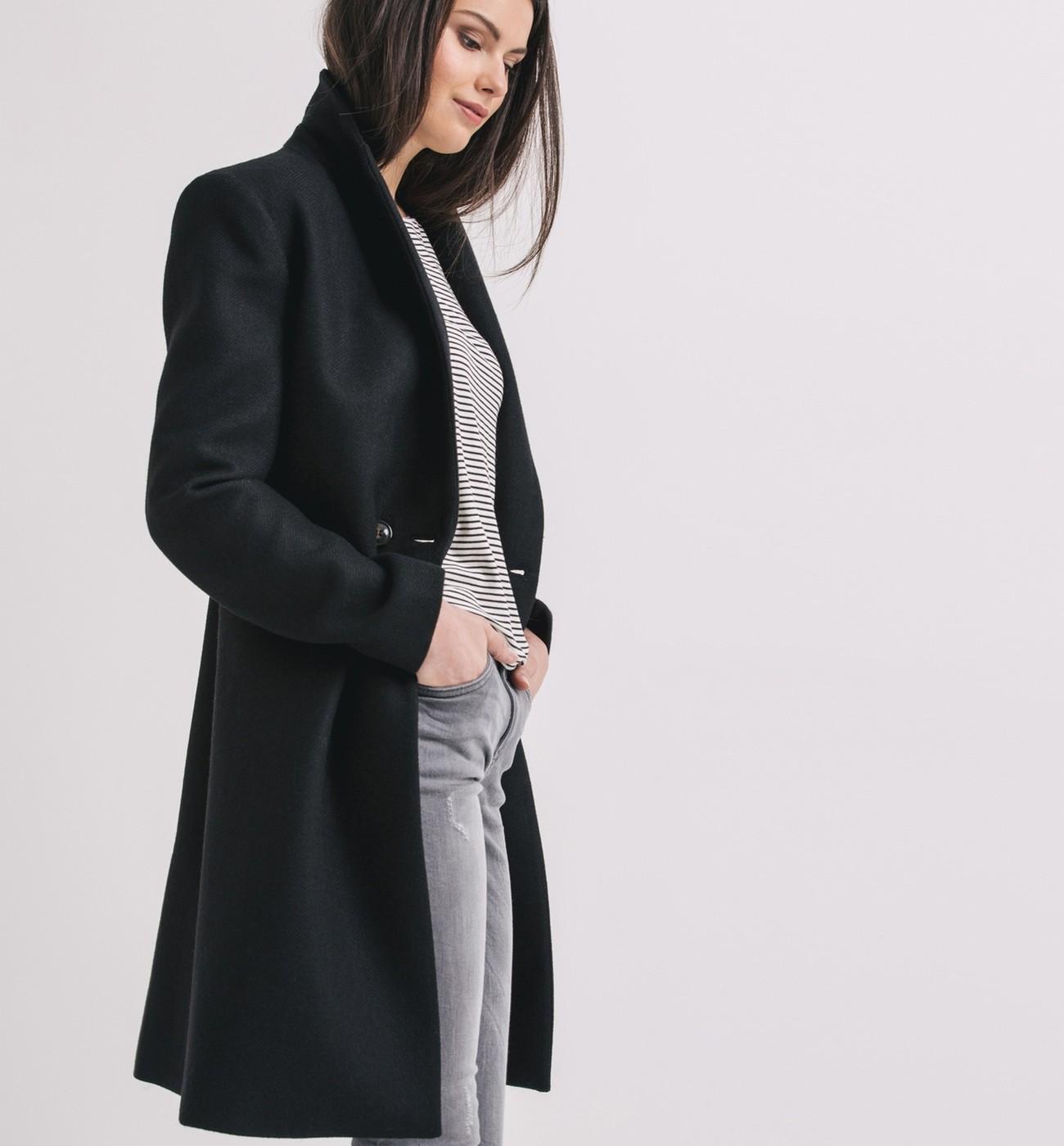 manteau noir femme comment vous v tir tout au long de l. Black Bedroom Furniture Sets. Home Design Ideas
